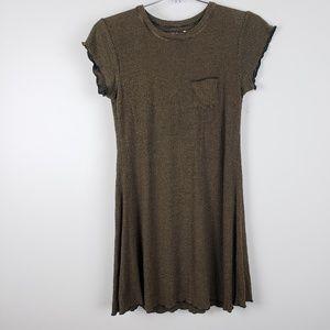 BDG Black/Brown Striped T-Shirt Dress Small